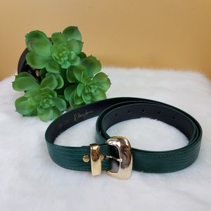 Vintage plus Nan Lewis green leather belt.
